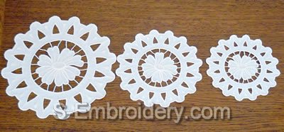 Cutwork Lace Daisy Machine Embroidery design - 3 sizes