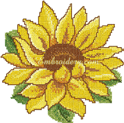 Cross stitch sunflower embroidery design - sku10067
