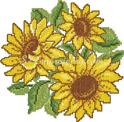 Cross stitch sunflower embroidery design - sku10068