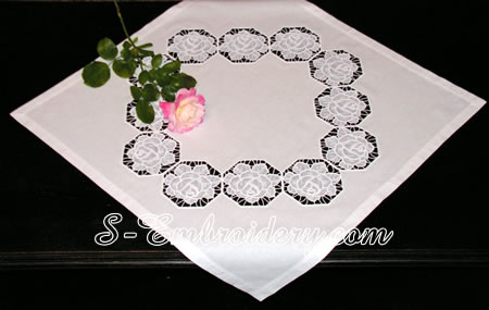 Table top with free standing lace rose embroidery