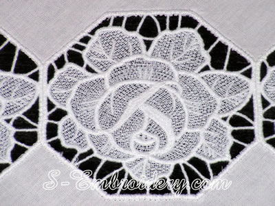 A rose free standing lace machine embroidery