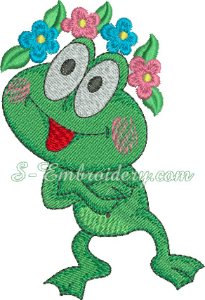 Froggy machine embroidery design