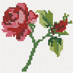 Machine cross stitch rose design