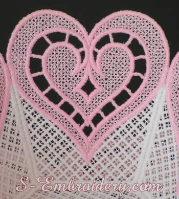 Free standing lace bowl embroidery detail