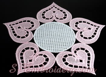 Free standing lace doily embroidery design