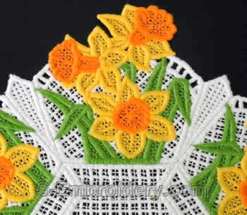 Freestanding lace doily detail