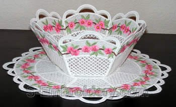 Peach blossom freestanding lace bowl and doily