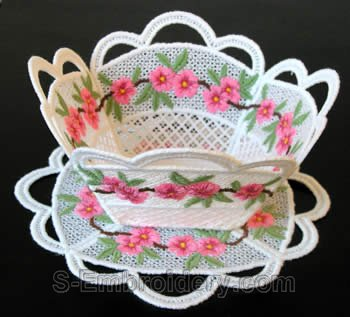 Peach blossom freestanding lace bowl #2
