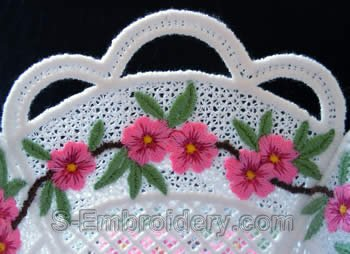 Peach blossom freestanding lace bowl close up