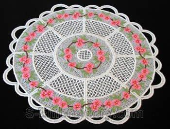 Peach blossom freestanding lace doily #1