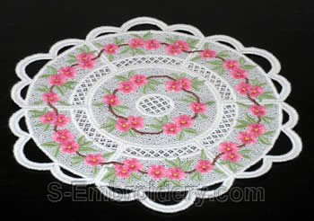 Peach blossom freestanding lace doily #2