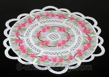 Peach blossom freestanding lace doily #2