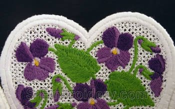 Violets freestanding lace bowl and doily close-up