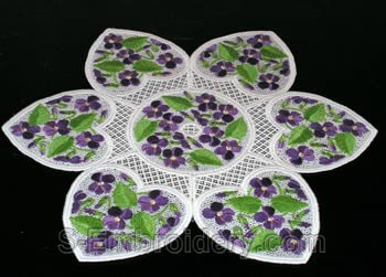 Violets freestanding lace doily