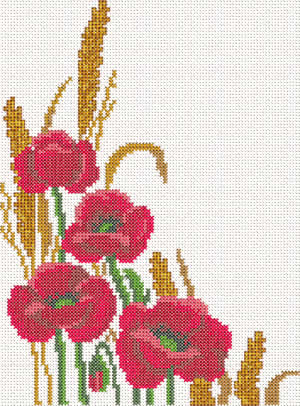 Cross stitch poppy machine embroidery design