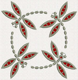Lace dragonfly embroidery design
