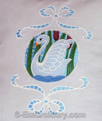 Freestanding Lace Swan Embroidery Decoration