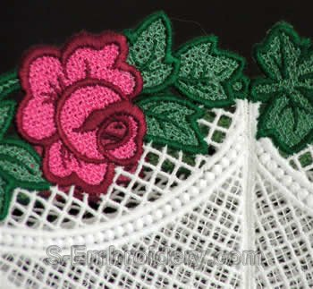 Rose freestanding lace bowl close-up view