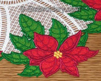 Freestanding Lace Poinsettia Doily Close-up Image