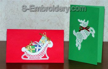 Freestanding lace Christmas greeting card decorations