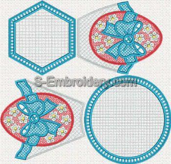 Easter egg freestanding lace machine embroidery set