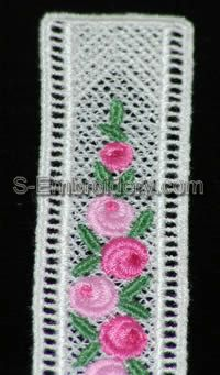 Mini rose Daffodil Freestanding Lace Bookmark #1