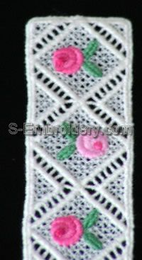Mini rose Daffodil Freestanding Lace Bookmark #2