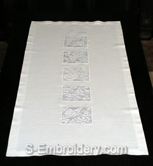 Freestanding lace crochet decorated table runner