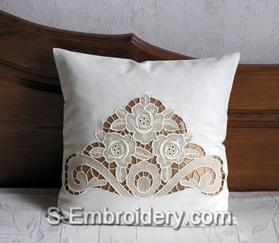 Freestanding lace rose decorated pillow case