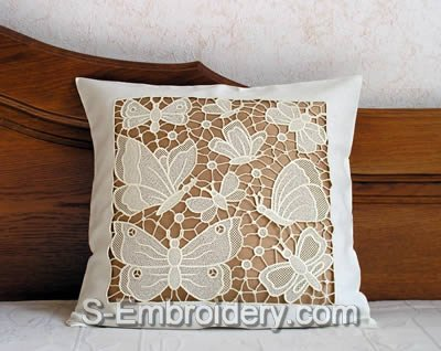 Pillow case with freestanding lace butterfly decoration