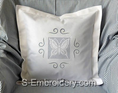 Pillow case with FSLace crochet and cutwork lace decorations