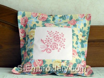 Pillow case with Cutwork Lace Rose machine Embroidery decoration