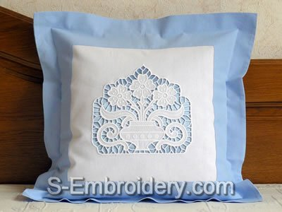 Pillow case with Cutwork Lace Flower Vase decoration