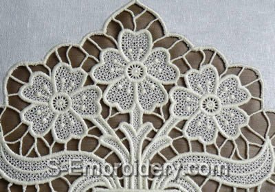 Freestanding Lace Flower vase Machine Embroidery Design - detail