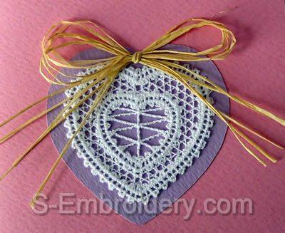 Valentine  Heart Battenberg lace embroidery design