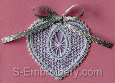 Valentine  Heart Battenberg lace embroidery design