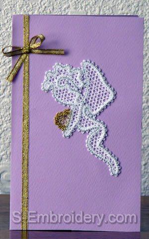 Valentine card with Cherub Battenberg lace decoration