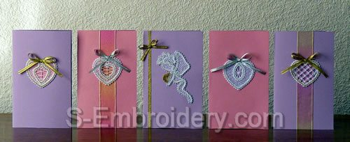 Valentine cards with Battenberg lace decorations