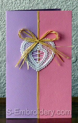 Valentine card with Heart Battenberg lace decoration