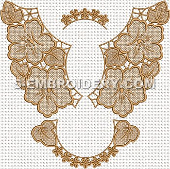 Floral freestanding lace doily machine embroidery design