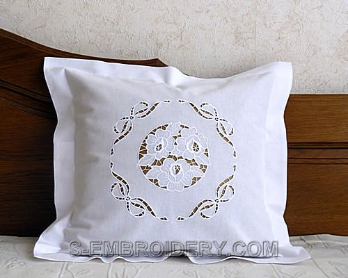 Pillowcase with Rose cutwork lace embroidery decoration
