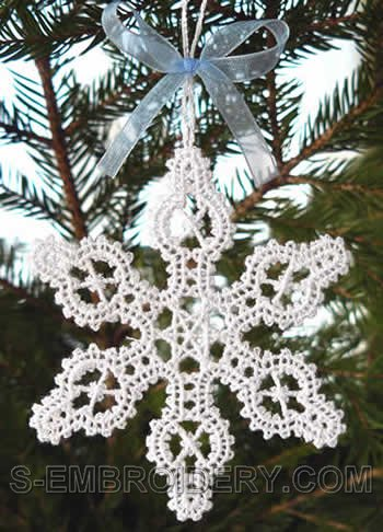 Freestanding Battenberg Lace Snowflake Christmas Tree Ornament