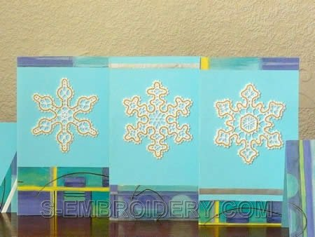 Freestanding Battenberg Lace Snowflake Christmas Greeting cards