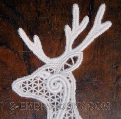 Reindeer Freestanding lace Christmas window decoration - close-up image