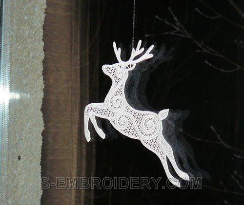 Reindeer Freestanding lace Christmas window decoration