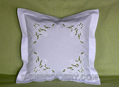Pillow case with tulips cutwok lace decoration