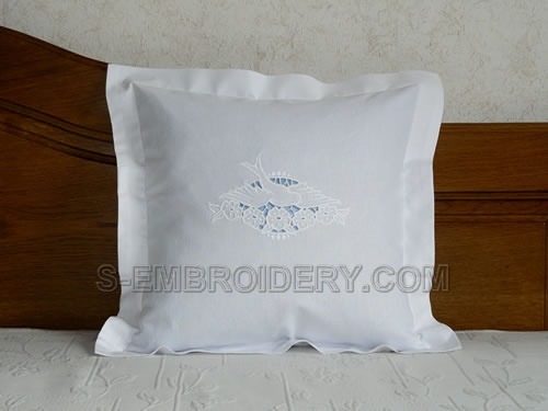 Pillow with dove cutwork embroidery decoration
