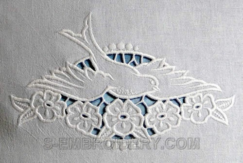 Cutwork lace dove machine embroidery