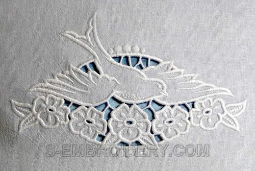 Cutwork Machine Embroidery - 10503 Dove Cutwork Lace Embroidery Design