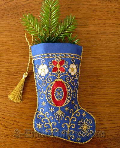 Christmas stocking machine embroidery design